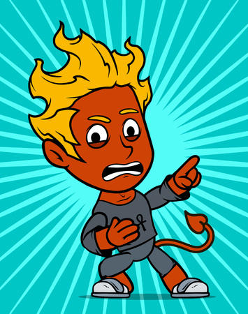 Cartoon cute angry standing little brunette red devil boy character in gray shirt. On yellow background. Vector icon. Ilustração