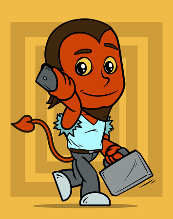 Cartoon cute walking smiling little brunette red devil boy character with phone and suitcase. On yellow background. Vector icon.