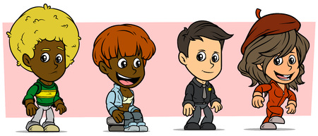 Cartoon funny boy and girl characters. Vol. 5. Police sheriff, Singer and Dancer. Vector icons set.