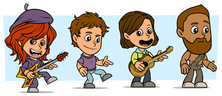 Cartoon funny boy and girl characters. Vol. 13. Wildman and Musicians. Vector icons set.