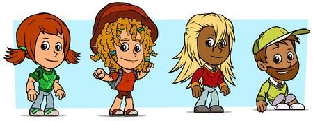 Cartoon funny boy and girl characters. Vol. 19. Students and School Kids. Vector icons set.