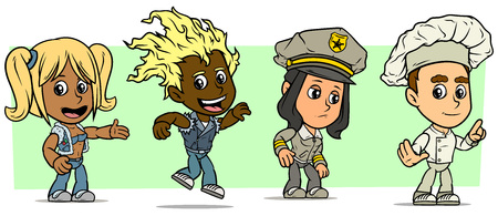 Cartoon funny boy and girl characters. Vol. 16. Policeman, Dancer and Chef cook. Vector icons set.
