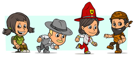 Cartoon funny boy and girl characters. Vol. 48. Ranger, detective and biker. Vector icons set Illustration