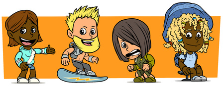 Cartoon funny boy and girl characters. Vol. 47. Snowboarder, soldier and sportsman. Vector icons set