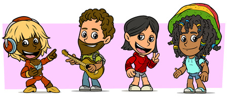Cartoon funny boy and girl characters. Vol. 51. Guitarist, dancer and student. Vector icons set