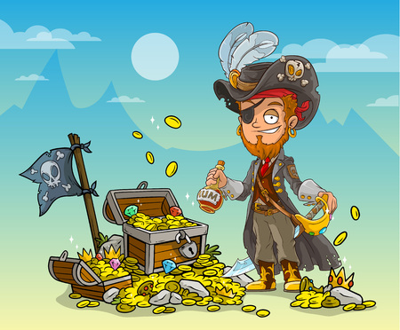 Cartoon bearded pirate character in hat with rum, sword and treasure chest with diamonds, gold coins and black flag. On blue mountains background.
