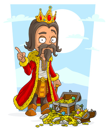 Cartoon bearded king character with golden crown and treasure chest with diamonds, gold coins and gems. On blue background.