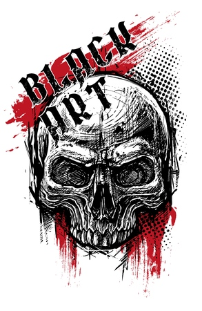 Detailed graphic hand drawn realistic black and white human skull. Trash polka style. On white background. Vector icon.