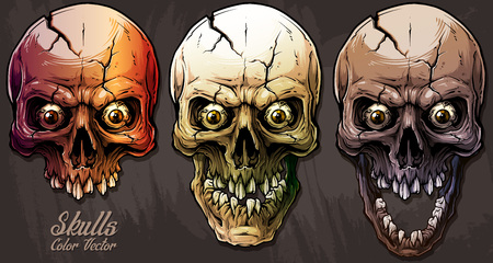Detailed graphic realistic cool colorful human skulls with crack, crazy eyes and broken teeth. On gray grunge background. Vector icon set.