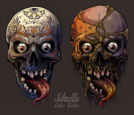 Detailed graphic realistic cool colorful human skulls with horrible long tongue and mexican tattoo floral ornament. On gray grunge background. Vector icon set. Illustration