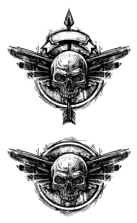 Detailed graphic hand drawn realistic black and white human skulls with wings, arrow and ribbon. Trash polka style. On white background. Vector icon set.