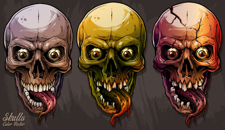 Detailed graphic realistic cool colorful human skulls with horrible long tongue and eyes. On gray grunge background. Vector icon set. Illustration