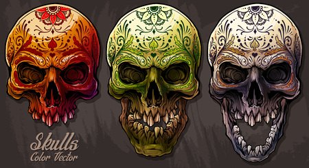 Detailed graphic realistic cool colorful human skulls with mexican tattoo floral ornament. On gray grunge background. Vector icon set. Illustration