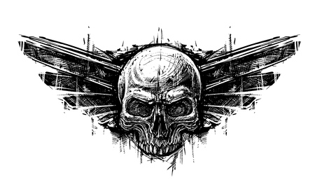 Detailed graphic hand drawn realistic black and white human skull with wings. Trash polka style. On white background. Vector icon. Illustration