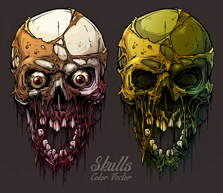 Detailed graphic realistic cool colorful human skulls with horrible pieces of dead skin, eyes, open mouth and broken teeth. On gray grunge background. Vector icon set. Illustration