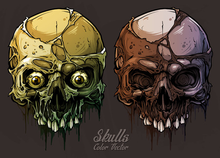 Detailed graphic realistic cool colorful human skulls without lower jaw, with pieces of dead skin and eyes. On gray grunge background. Vector icon set.
