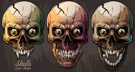 Detailed graphic realistic cool colorful human skulls with sharp canines, crazy eyes and cracks. On gray grunge background. Vector icon set. Illustration