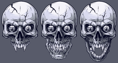 Detailed graphic realistic cool black and white human skulls with sharp canines, crazy eyes and cracks. On gray background. Vector icon set.