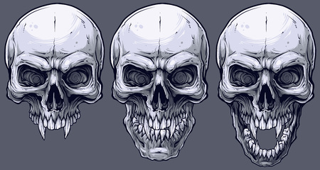 Detailed graphic realistic cool black and white human skulls with sharp canines. On gray background. Vector icon set.