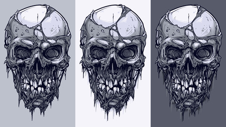 Detailed graphic realistic cool black and white human skulls with horrible pieces of dead skin and broken teeth. On gray background. Vector icon set.