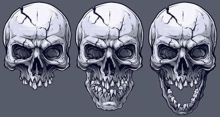 Detailed graphic realistic cool black and white human skulls with crack and broken teeth. On gray background. Vector icon set. Vector Illustration