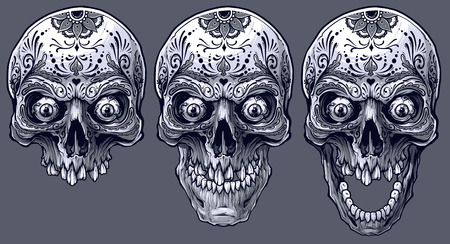 Detailed graphic realistic cool black and white human skulls with eyes and mexican tattoo floral ornament. On gray background. Vector icon set.