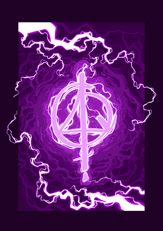 Cartoon violet magic spell witch symbol or sign with lightning element. Vector background.
