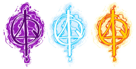 Cartoon colorful magic spell witch symbol or sign. Water, fire and lightning element. Vector icon set.