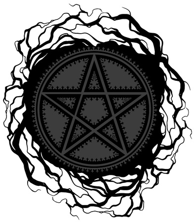 Black five pointed pentagram star with ornament and tree roots. On white background. Vector icon. Illustration