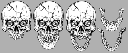 Detailed graphic realistic cool white human skulls with crack, crazy eyes, broken teeth and lower jaws. On gray background. Vector icon set. Vector Illustration