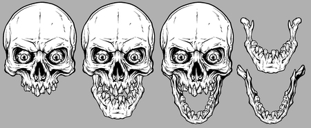 Detailed graphic realistic cool white human skulls with broken teeth, crazy eyes and lower jaws. On gray background. Vector icon set.