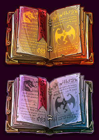 Cartoon colorful detailed old open magic spell books with dragons, strange symbols and bookmark. Isolated on dark background. Vector icon set.
