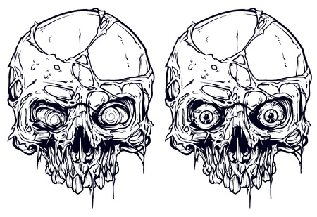 Detailed graphic realistic cool white human skulls without lower jaw with pieces of dead skin and eyes. On white background. Vector icon set.