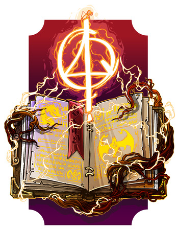 Cartoon colorful detailed old open magic spell books with dragons, strange fire lightning symbols and bookmark. On background with tree roots. Vector icon.