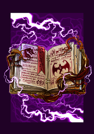 Cartoon colorful detailed old open magic spell books with dragons, strange symbols and bookmark. On background with lightning and tree roots. Vector icon.