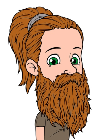 Cartoon brunette long haired hipster boy character with big beard. Isolated on white background. Vector icon avatar. Illustration