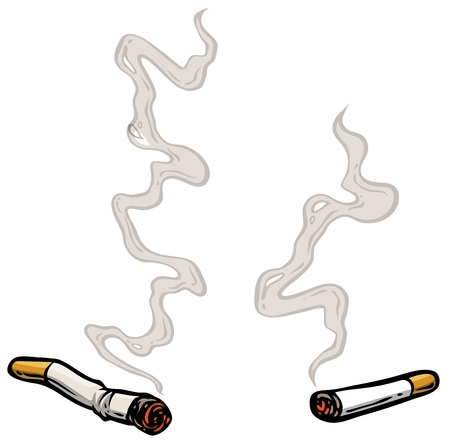 Cartoon lit cigarettes with smoke. Isolated on white background. Vector icon.