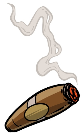 Cartoon lit cigar with smoke. Isolated on white background. Vector icon. Ilustracja