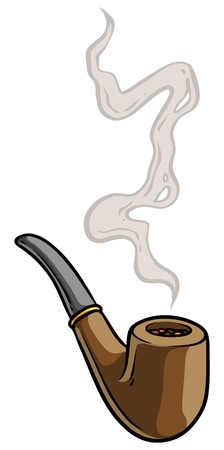 Cartoon tobacco pipe with smoke. Isolated on white background. Vector icon.