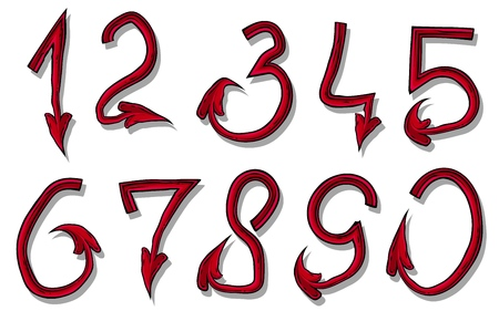 Handrawn design font of red devil numbers. Isolated on white background. Vector icon set.