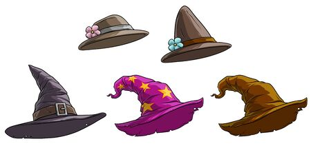 Cartoon different caps and hats. Old and retro. Womens and magicians. Isolated on white background. Vector icon set.