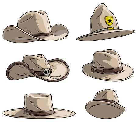 Cartoon different leather caps and hats. Old and retro. Cowboys, sheriff and rangers. Mexican and mafia. Isolated on white background. Vector icon set. Vol. 2