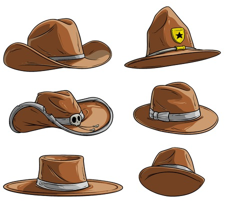 Cartoon different leather caps and hats. Old and retro. Cowboys, sheriff and rangers. Mexican and mafia. Isolated on white background. Vector icon set. Vol. 1