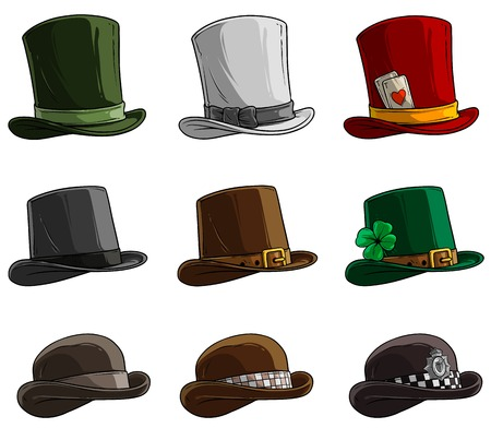 Cartoon different caps and hats. Old and retro. Gentlemans and Magicians. Policemens and Irish. Isolated on white background. Vector icon set. Ilustracja