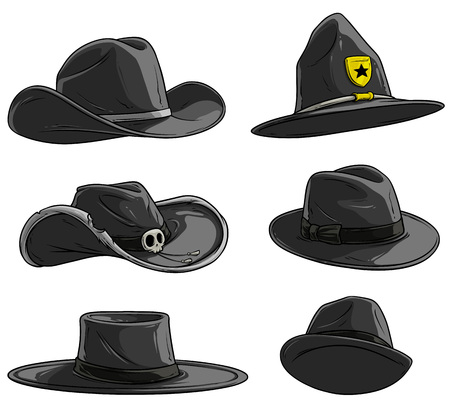Cartoon different black caps and hats. Old and retro. Cowboys, sheriff and rangers. Mexican and mafia. Isolated on white background. Vector icon set.