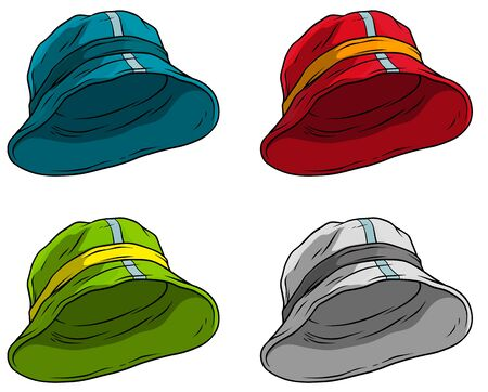 Cartoon colorful summer panama hat or cap. Isolated on white background. Vector icon set.