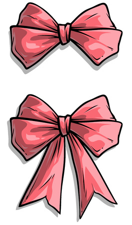 Cartoon pink holiday present bow knot with ribbon and stripe. Isolated on white background. Vector icon set.