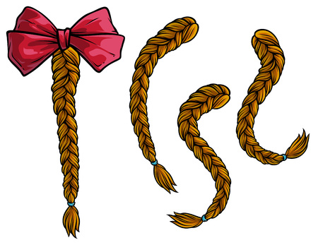 Cartoon brown hair plaits with pink holiday bow knot. Isolated on white background. Vector icon set. Ilustracja