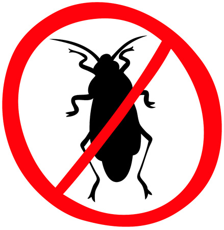 No cockroach. Stop insects. Isolated on white background. Warning sign vector icon. Ilustracja