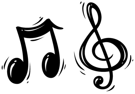 Black silhouette treble clef and music note. Isolated on white background. Vector icon.